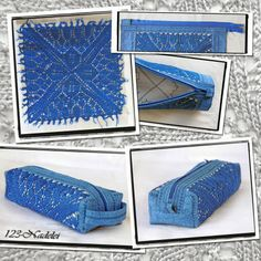 Mäppchen aus Kunststrickdeckchen / Pouch partly made of knitted doily Diy Jeans, Diy Pencil Case, Pencil Cases, Refashion, Doilies, Tricks, Cover, Boho Fashion, Pouch
