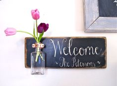 CUSTOM ORDER Welcome Sign Family Name Wall Flower by three1seven, $53.95