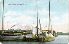 Maritime Burlington - Canal boats in port, Burlington, VT, early 1900s. Lake Champlain Maritime Museum Collection.
