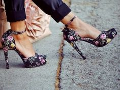 this floral ankle-strap heels hit two trends with one stone.