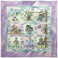 Home Tweet Home birdhouse quilt by McKenna Ryan