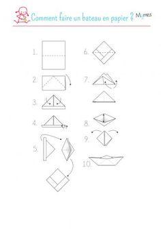 Origami Tutorial Boat Fun New Ideas Oragami, Origami Paper, Diy Paper, Paper Crafts, Origami Sailboat, Origami Turtle, Origami Boot, Origami Simple, Art For Kids