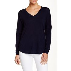 360 CASHMERE Lina V-Neck Pullover ($50) ❤ liked on Polyvore featuring tops, sweaters, navy, cotton pullovers, navy v neck sweater, navy blue top, v-neck sweater and blue sweater