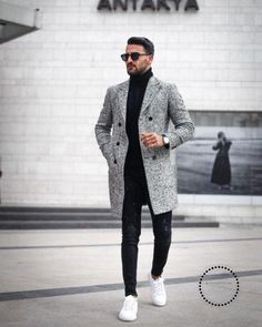 60 Best Ways to Style an Overcoat This Winter. Grey overcoat, black turtleneck t-shirt, jeans, white sneaker Click image to view more. men outfit Men's Overcoat: How to Buy & How to Style A Winter Overcoat