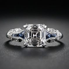 A glorious and glistening classic square emerald-cut - aka Asscher-cut - diamond is the star attraction   circa 1930s
