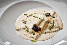 Raviolini with ricotta cream, pecorino sauce & black truffle. Olympic Restaurant, What Is Bold, Black Truffle, Executive Chef, Ricotta, Truffles, Olympics, Cream, Food