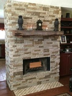 Airstone fireplace with mantel definitely doing this  IdeasInspiration  Airstone fireplace