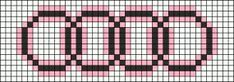 Audi symbol X-stitch chart Pony Bead Patterns, Beading Patterns, Perler Patterns, Stitch Patterns, Knitting Patterns, Knitting Charts, Lace Knitting, Pixel Art Logo, Hama Beads