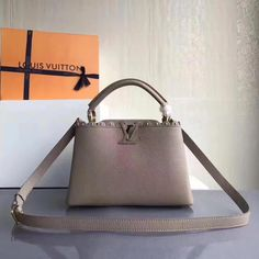 Louis Vuitton Taurillon Leather Capucines BB With Lace  amp  Studs Edge  Grey 2017  Louisvuittonhandbags 55831553586