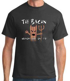TshirtsXL Men's Devil Bacon Graphic Tee, Medium, Charcoal