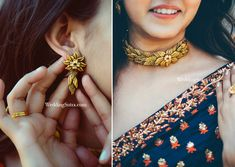 StyleSpotting with Azva and leading bridal couture brand SVA by Sonam and Paras Modi Jewelry Design Earrings, Gold Earrings Designs, Gold Jewellery Design, Necklace Designs, Gold Designs, Mehndi Designs, Pendant Jewelry, Jewelry Accessories, Real Gold Jewelry