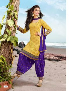 Yellow n purple #Salwar suit