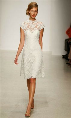 short lace wedding dress... in another color could be for any occasion