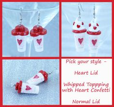 Starbucks Coffee Cup Valentine's Day Earrings (MTO) - starbuck's - bean - iced coffee - hot coffee - valentines day - valentine - miniature
