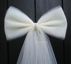 Ivory Tulle Bling Pew Bow, Wedding Bow, Bridal Shower, Baby Shower, Chair Sash