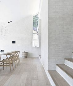 Grey floors and white brick walls. Design: Floors (Fredensborg House BY Norm Architects). White Brick Walls, White Oak Floors, White Bricks, White Wood, Grey Brick, White Flooring, Grey Floorboards, Light Grey Wood Floors, Grey Hardwood Floors