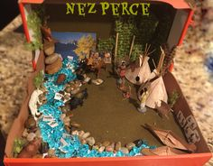 Indian Diorama  Kids 4th Grade School Project ~ Plateau Region Nez Perce Indian Tribe Diorama.