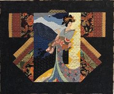 Kimono Needlepoint Quilt wide x tall Silk, wool, cotton, synthetic This quilt won the Creative Fiber Award at 2015 La Conner. Japanese Quilt Patterns, Japanese Quilts, How To Finish A Quilt, Panel Quilts, Asian Style, Needlepoint, Needlework, Oriental, Wool