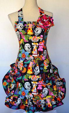 Dios Los Muertos  Mariachi  Wedding Print  by OliviabyDesign, $34.95 #sugar skull apron # mexican wedding print apron