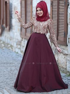 Maroon - Gold - Fully Lined - Crew neck - Polyester - Muslim Evening Dress - SomFashion
