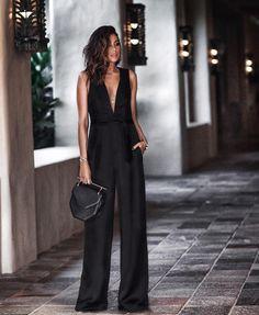 Fashion Plain Full Length High Waist Womens Jumpsuit - Look Fashion Black Women Fashion, Look Fashion, Womens Fashion, Fashion Trends, Cheap Fashion, Fashion Boots, Latest Fashion, Fashion Inspiration, Estilo Glamour