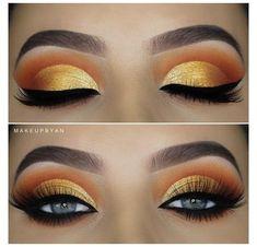 Yellow Makeup, Gold Eye Makeup, Eye Makeup Brushes, Colorful Eye Makeup, Natural Eye Makeup, Eye Makeup Tips, Smokey Eye Makeup, Makeup For Brown Eyes, Eyeshadow Makeup