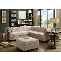 Moser Bay Furniture Olivia Tufted Sectional Sofa