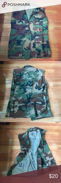 Vintage distressed army print vest. Vintage distressed army print vest. T. Wright marked on inside. Jackets & Coats Vests