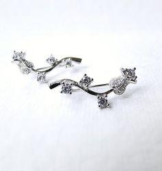 Sterling Silver ear cuffs, Swarovski Crystal ear pin, Diamond earrings, silver cuff earrings, crystal wrap earrings, sterling silver ear pin