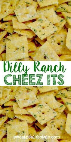 Dilly Ranch Cheez-Its - Sweetpea Lifestyle Crispy cheese crackers are coated with ranch seasoning and fresh dill, creating an irresistible snack! Easy Snacks, Yummy Snacks, Healthy Snacks, Easy Meals, Healthy Recipes, Snacks Homemade, Keto Snacks, Eat Healthy, Savory Snacks