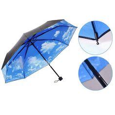 Hot Sale 3 Folding Blue Sky Super Anti-UV Umbrellas Sun Protection Parasols Rain Umbrella #Affiliate