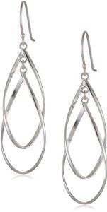 Sterling Silver Double Elongated Oval Twist French Wire Earrings $21.56 on amazon.com
