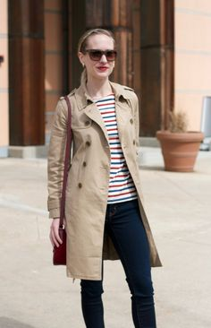 jeans, stripe tee, trench coat outfit