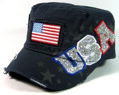 Rhinestone USA & American Flag Glitter Vintage Cadet Hats Wholesale - Navy