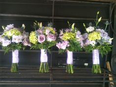 Bridesmaid Bouquets for Lindsey with Lavender Lisianthus, Mini green hydrangeas, Ocean Song Roses