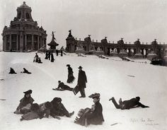 Sledding on Art Hill, after the world's fair, 1904-05 by Missouri History Museum