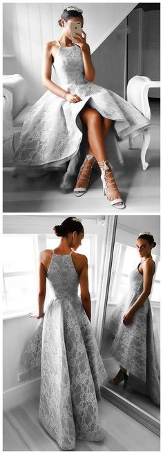High Low Hot Sale A-LINE SPAGHETTI STRAPS HIGH LOW PROM DRESS TULLE PROM DRSESS Formal Dress With Lace SKY829