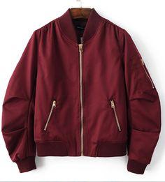 Burgundy Red Pleated Bomber Jacket
