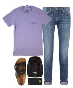 """""""lazy"""" by tabooty ❤ liked on Polyvore featuring Current/Elliott, The North Face, Birkenstock and Tory Burch"""