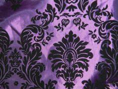 Flocked Taffeta Fabric High Quality Purple Black Flocking Damask | eBay