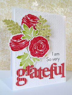 Papertrey Ink, Cutting Garden, Count Your Blessings, grateful, floral