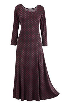 Dot Print Dress by Nina Leonard: Silky knit dress with a full, sweeping skirt and a feminine ballet neckline from a name you know and love.