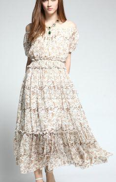 Off-shoulder  Elastic Waist Short Sleeves Maxi Floral Dress