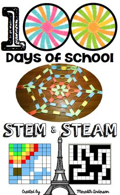 day of school STEM and STEAM activities - celebrate 100 days of school by challenging your students with these STEM activities based on the number Includes instructions, sample photos, and ways to make each challenge easier or more difficult. Steam Activities, Science Activities For Kids, Stem Science, 100 Days Of School, School Holidays, School Supplies Tumblr, 100s Day, 100 Day Celebration, Steam Education