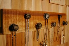 Brushed copper and Glass Gorgeous 7 knob jewelry board by SplintersAndNails, $48.50