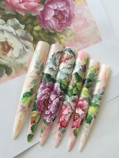 One Stroke Nails, Flower Nail Art, Clay Dolls, Creative Nails, Long Nails, Nails Inspiration, Girly Things, Flower Designs, Simple Designs