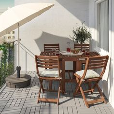 ÄPPLARÖ Table and 4 folding chairs, outdoor - brown stained, Kuddarna light blue - IKEA Outdoor Folding Chairs, Outdoor Dining, Outdoor Furniture Sets, Outdoor Decor, Rustic Furniture, Ikea Outdoor Table, Dining Furniture, Furniture Plans, Antique Furniture