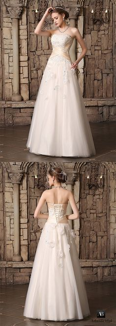 Chic tulle strapless neckline floral a-line wedding dresses. This refined bridal gown is ideal for your wedding. (WWD63608) - Adasbridal.com