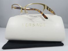 7d7ccf75212 Versace MOD 1224 1352 Semi Rimless Gold New Authentic Eyeglasses 53mm w Case