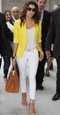 Eva Longoria - white jeans, yellow jacket and tan heels. Love this outfit